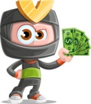 Cute Ninja Cartoon Vector Character AKA Arata - Show me the Money