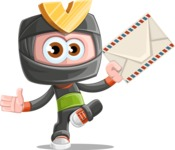 Cute Ninja Cartoon Vector Character AKA Arata - Letter