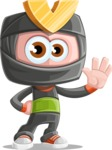 Cute Ninja Cartoon Vector Character AKA Arata - Wave