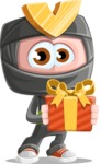 Cute Ninja Cartoon Vector Character AKA Arata - Gift