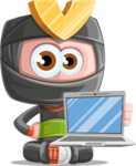 Cute Ninja Cartoon Vector Character AKA Arata - Laptop 1