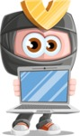 Cute Ninja Cartoon Vector Character AKA Arata - Laptop 3
