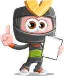 Cute Ninja Cartoon Vector Character AKA Arata - Note 3