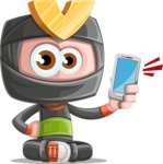 Cute Ninja Cartoon Vector Character AKA Arata - Smartphone2