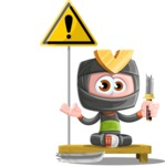 Cute Ninja Cartoon Vector Character AKA Arata - Under Construction 1