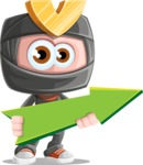 Cute Ninja Cartoon Vector Character AKA Arata - Pointer 1