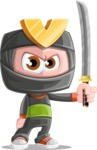 Cute Ninja Cartoon Vector Character AKA Arata - Determination