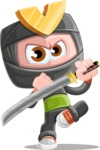 Cute Ninja Cartoon Vector Character AKA Arata - Protect