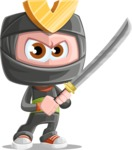 Cute Ninja Cartoon Vector Character AKA Arata - Fight