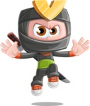 Cute Ninja Cartoon Vector Character AKA Arata - Jump