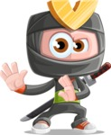 Cute Ninja Cartoon Vector Character AKA Arata - Sneak Attack