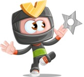 Cute Ninja Cartoon Vector Character AKA Arata - Shuriken Attack