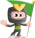 Cute Ninja Cartoon Vector Character AKA Arata - On the Top