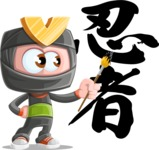 Cute Ninja Cartoon Vector Character AKA Arata - Creativity