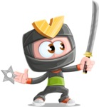 Cute Ninja Cartoon Vector Character AKA Arata - Training