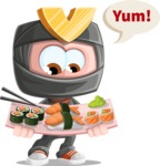 Cute Ninja Cartoon Vector Character AKA Arata - Food 2