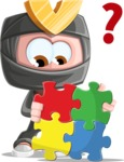 Cute Ninja Cartoon Vector Character AKA Arata - Puzzle