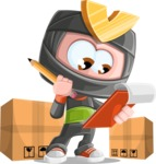 Cute Ninja Cartoon Vector Character AKA Arata - Delivery 2