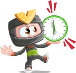 Cute Ninja Cartoon Vector Character AKA Arata - Time is up