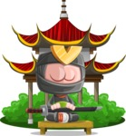 Cute Ninja Cartoon Vector Character AKA Arata - Temple