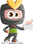 Cute Ninja Cartoon Vector Character AKA Arata - Sign 1