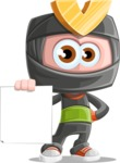 Cute Ninja Cartoon Vector Character AKA Arata - Sign 2