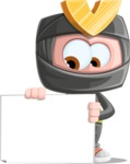 Cute Ninja Cartoon Vector Character AKA Arata - Sign 3