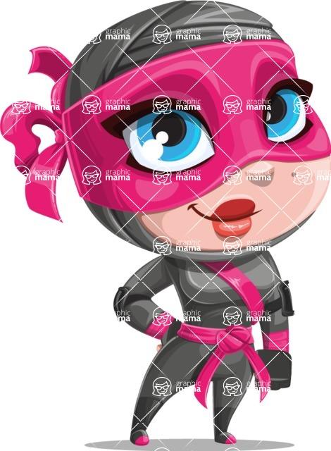 Cute Ninja Girl Cartoon Vector Character AKA Hiroka - Normal