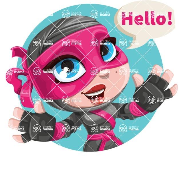 Cute Ninja Girl Cartoon Vector Character AKA Hiroka - Shape 1