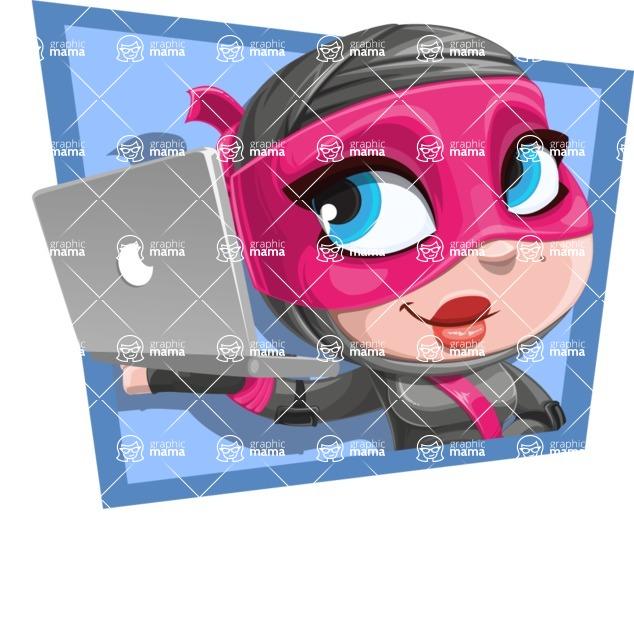 Cute Ninja Girl Cartoon Vector Character AKA Hiroka - Shape 2