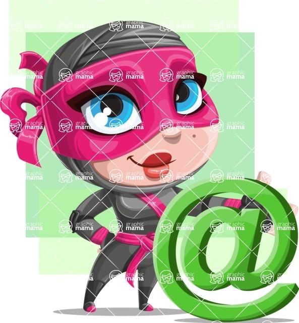 Cute Ninja Girl Cartoon Vector Character AKA Hiroka - Shape 7