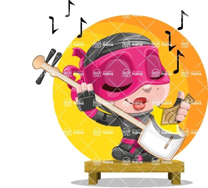 Cute Ninja Girl Cartoon Vector Character AKA Hiroka - Shape 9
