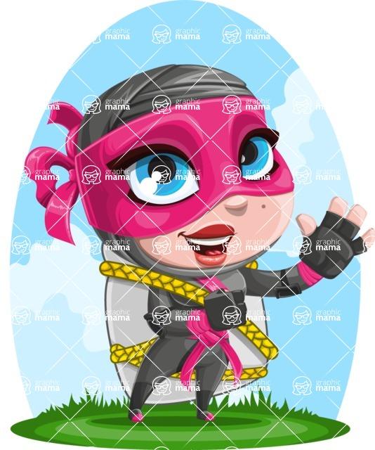 Cute Ninja Girl Cartoon Vector Character AKA Hiroka - Shape 10