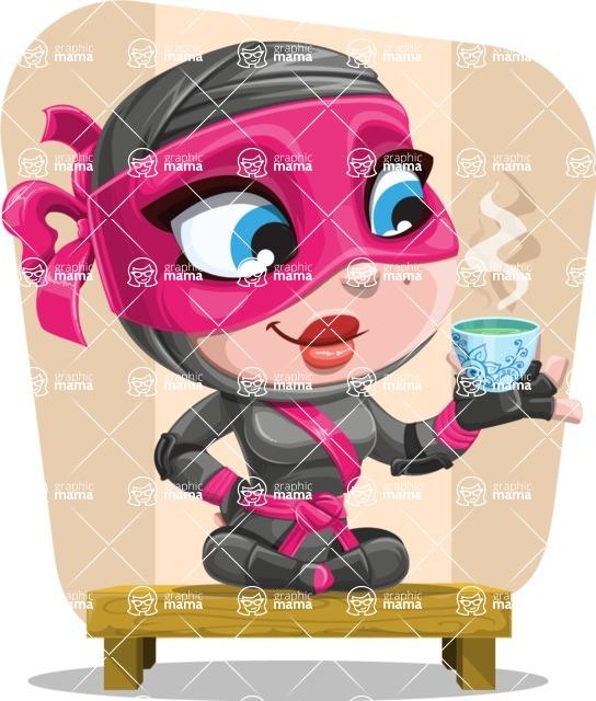 Cute Ninja Girl Cartoon Vector Character AKA Hiroka - Shape 11