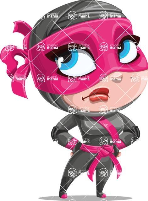 Cute Ninja Girl Cartoon Vector Character AKA Hiroka - Roll Eyes