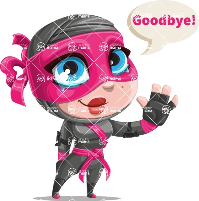 Cute Ninja Girl Cartoon Vector Character AKA Hiroka - Goodbye