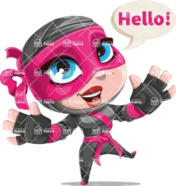 Cute Ninja Girl Cartoon Vector Character AKA Hiroka - Hello