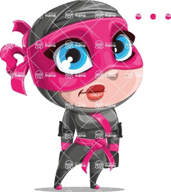 Cute Ninja Girl Cartoon Vector Character AKA Hiroka - Blank