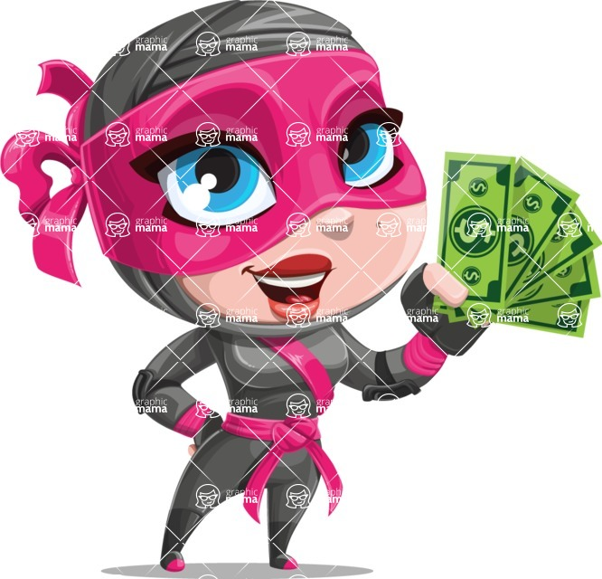 Cute Ninja Girl Cartoon Vector Character AKA Hiroka - Show me the Money