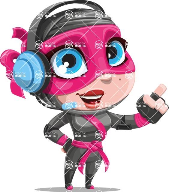 Cute Ninja Girl Cartoon Vector Character AKA Hiroka - Support