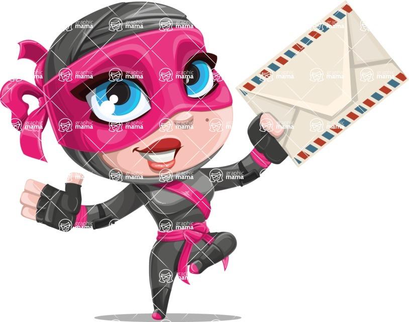 Cute Ninja Girl Cartoon Vector Character AKA Hiroka - Letter