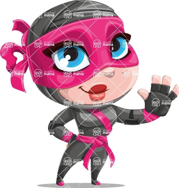 Cute Ninja Girl Cartoon Vector Character AKA Hiroka - Wave