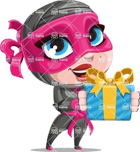Cute Ninja Girl Cartoon Vector Character AKA Hiroka - Gift