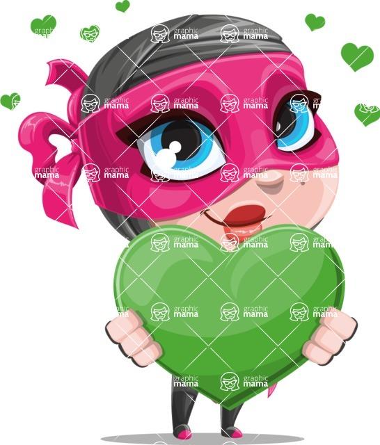 Cute Ninja Girl Cartoon Vector Character AKA Hiroka - Love