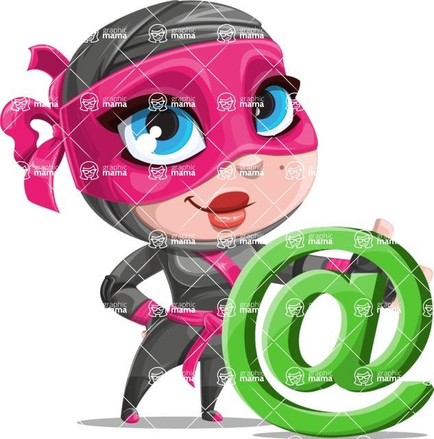 Cute Ninja Girl Cartoon Vector Character AKA Hiroka - At Symbol
