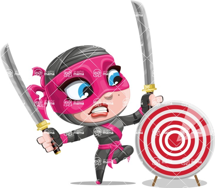 Cute Ninja Girl Cartoon Vector Character AKA Hiroka - Target