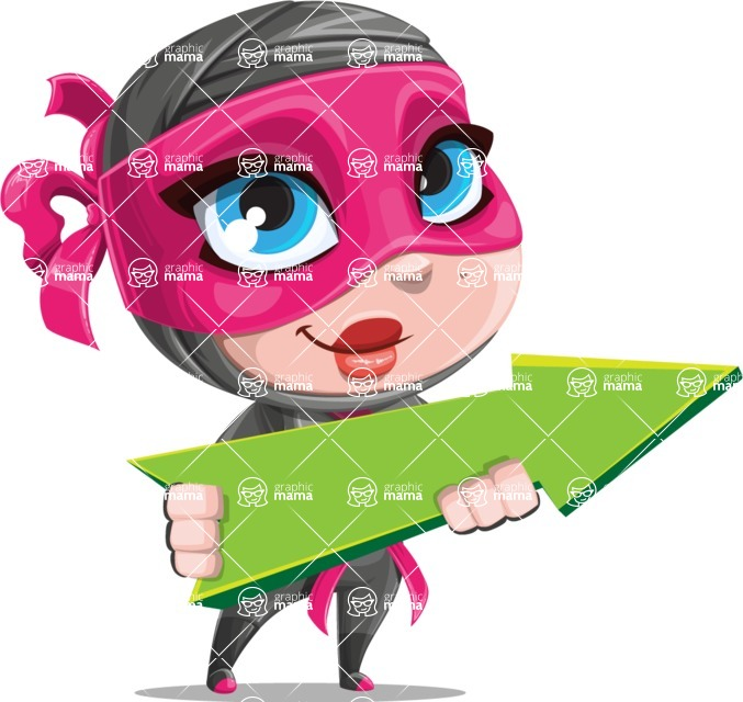 Cute Ninja Girl Cartoon Vector Character AKA Hiroka - Pointer 1