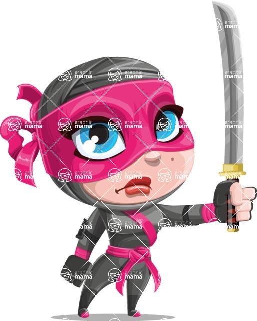 Cute Ninja Girl Cartoon Vector Character AKA Hiroka - Determination