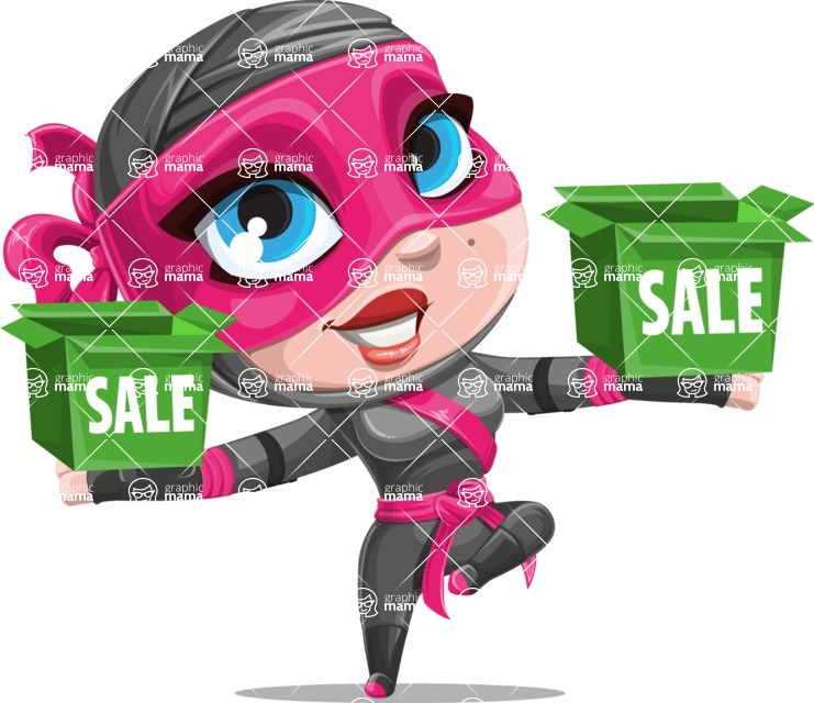 Cute Ninja Girl Cartoon Vector Character AKA Hiroka - Sale 1