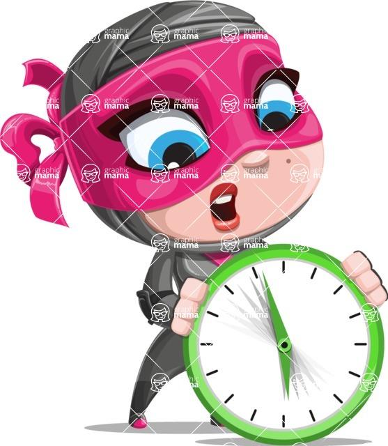Cute Ninja Girl Cartoon Vector Character AKA Hiroka - Time is running out